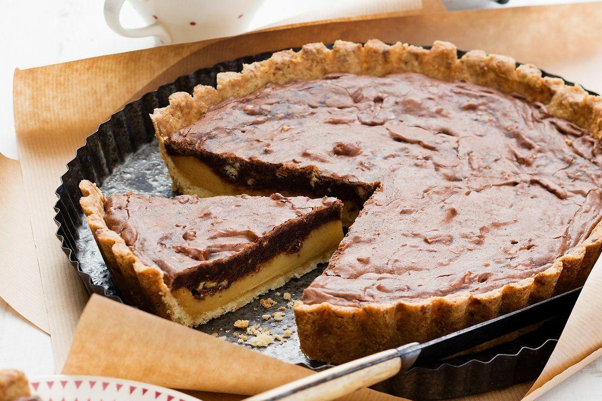 Diós-karamellás-csokis pite recept